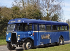 Vintage blue bus for weddings in Exeter